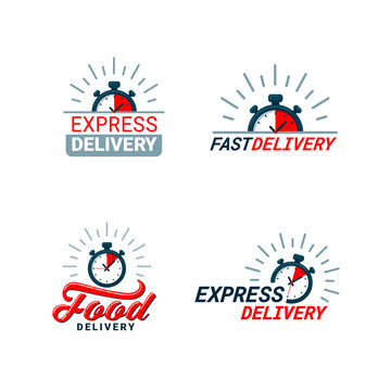 Set of Delivery Related Color Icons. Logos with timer and fast, food, or express delivery inscriptions in red and gray. Flat style vector illustration isolated on white background.