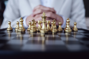 Strategic Planning, Business Competition, Show planning chess the competition to fight in the business world.