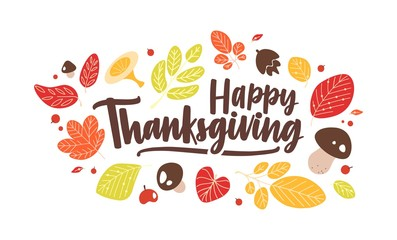 Happy Thanksgiving phrase handwritten with elegant calligraphic script and decorated by fallen autumn leaves and mushrooms. Seasonal vector illustration in flat style for holiday greeting card.