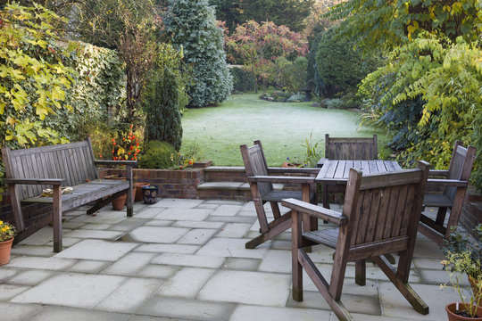 Patio and garden in autumn