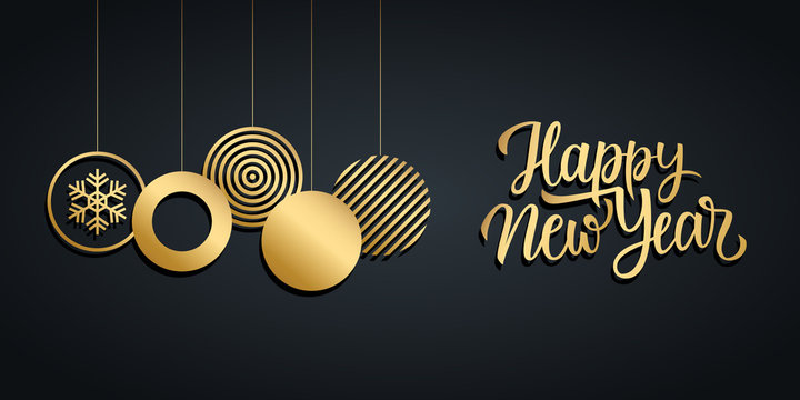 Happy New Year luxury holiday banner with gold handwritten new year greetings and gold colored christmas balls. Vector illustration.