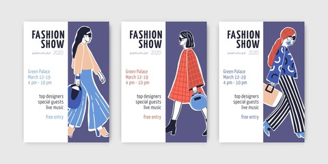 Bundle of fashion show invitation templates with young top models wearing trendy clothes and doing catwalk or demonstrating apparel on runway. Hand drawn vector illustration for event announcement.