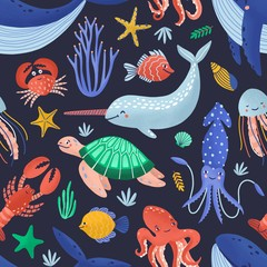 Seamless pattern with happy sea word creatures. Backdrop with underwater fauna or cute ocean animals on dark background. Flat cartoon childish vector illustration for wrapping paper, fabric print.
