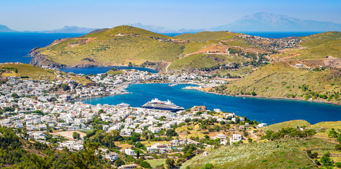 Wall Mural - Panoramic harbor landscape of Greek Island Patmos.