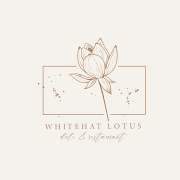 Simple logo with a lotus flower in the frame complemented by ink spots. Hand drawn vector illustrations. Perfect for labels, badges, logo, branding.