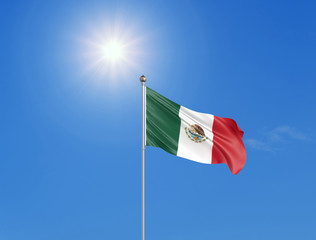3D illustration. Colored waving flag of Mexico on sunny blue sky background.
