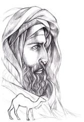 Portrait Bedouin, Arab with a beard in a turban