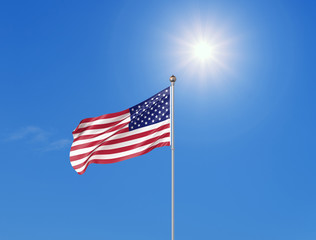 3D illustration. Colored waving flag of United States of America on sunny blue sky background