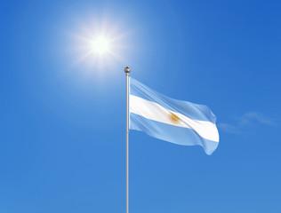 3D illustration. Colored waving flag of Argentina on sunny blue sky background.