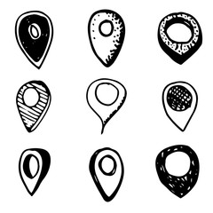 Hand Drawn gps icon doodles set. Sketch style icons. Decoration element. Isolated on white background. Flat design. Vector illustration