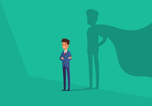 Business concept. Businessman with super hero shadow