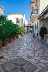 Walking on traditioanal greek streets, Spetses Saronic gulf, Greece