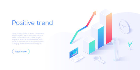 Fototapeta Positive trend isometric vector illustration. Business analysis for company marketing solutions or financial performance. Budget accounting or statistics concept for increasing income.