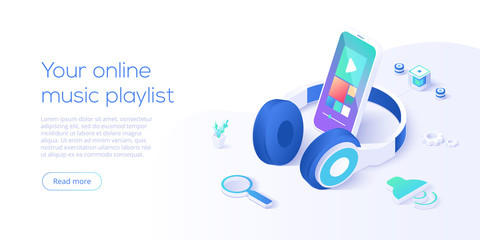 Fototapeta Online music playlist concept in isometric vector illustration. Smartphone streaming audio player app and headphones playing mp3. Web banner layout template for website or social media. obraz