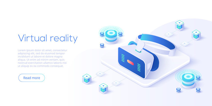 Virtual or augmented reality concept in isometric vector illustration. VR/AR glasses connection to network. Headset technology web banner layout template for website or social media.