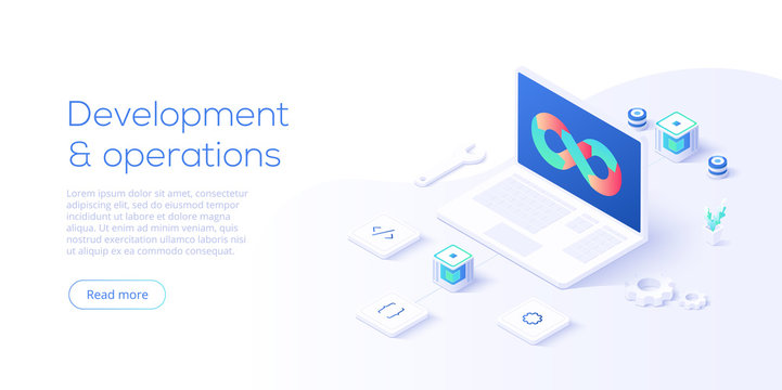 Web development concept in flat design. Developers or designers working at internet app or online service. Creative vector illustration. Web site landing page layout or banner template.