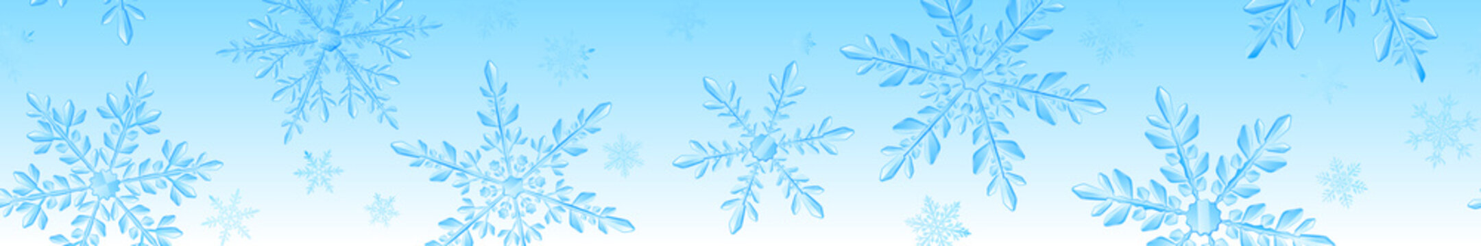Christmas banner of large complex transparent snowflakes in light blue colors on gradient background. With horizontal repeating pattern. Transparency only in vector format