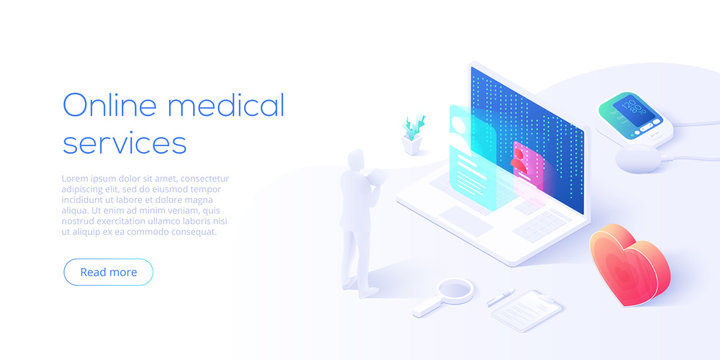 Online medical services concept in isometric vector illustration. Hospital building with blood measuring or checking machine, heart and syringe as healthcare metaphor. Health diagnostics background.