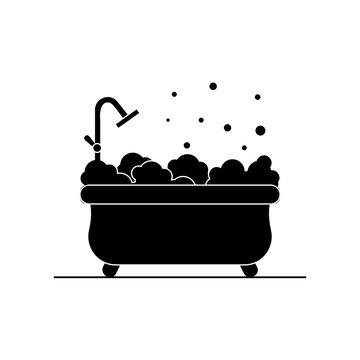 Bathtub with foam icon. Bathroom simple illustration.