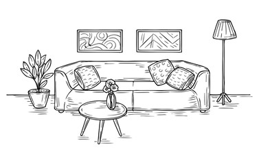 Sketch living room. Sofa, lamp and pictures on wall house furniture contemporary apartment drawing room interior sketch vector concept. Furniture sofa, house interior living room illustration