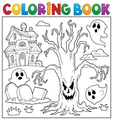 Photo sur Plexiglas Enfants Coloring book spooky tree thematics 2