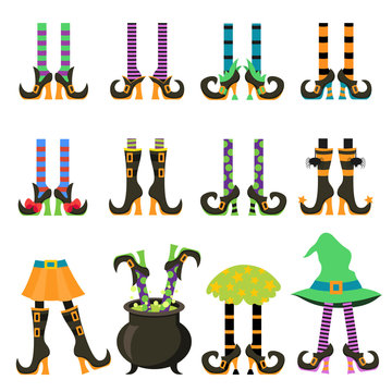 Witches legs flat vector illustrations isolated set