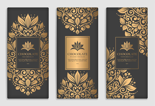 Gold and black packaging design of chocolate bars. Vintage vector ornament template. legant, classic elements. Great for food, drink and other package types. Can be used for background and wallpaper.