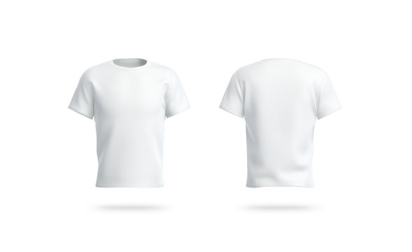Blank white clean t-shirt mockup, isolated, front and back view,