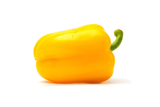 One fresh yellow peppers isolated on white background.