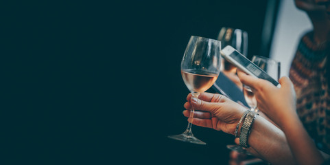 Wine glass white and rose image for banner advertorial website cover brochure template mock-up