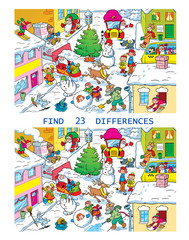 Vector puzzle with a city street before Christmas. In the illustration, you need to find 23 differences in the pictures with the characters on New Year's Day.