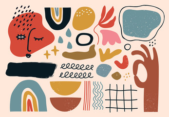 Set of hand drawn various shapes and doodle objects. Abstract contemporary modern trendy vector illustration. All elements are isolated Fototapete