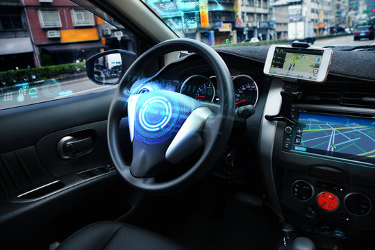 Self Driving car with HUD graphic of AI Autopilot and Navi system is parking near the road while using a sensor to keep safety around the car. Transporation technology, Autonomose vehicle Concept