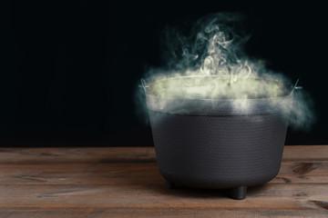 halloween cauldron with smoke