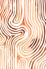 Brown abstract striped watercolor background inspired by tribal body paint. Raster.