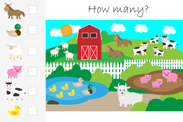 How many counting game, farm with animals for kids, educational maths task for the development of logical thinking, preschool worksheet activity, count and write the result, vector illustration