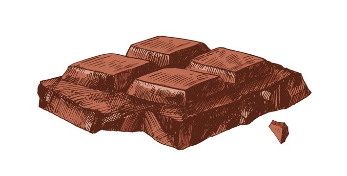 Elegant detailed realistic drawing of part of broken chocolate bar. Sweet tasty dessert or delicious confection isolated on white background. Colored hand drawn vector illustration in vintage style.