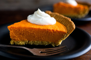 Close up of roasted sweet potato pie on plate