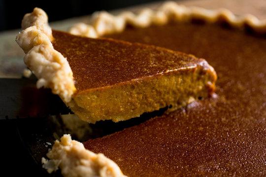 Close up of brandied pumpkin pie