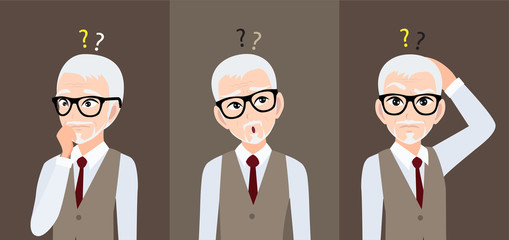 Alzheimer's disease or memory loss with old man cartoon character design vector Wall mural