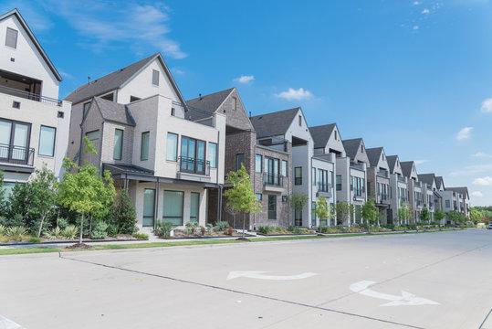 New development three story single family houses near Dallas, Texas