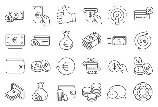 Money wallet line icons. Set of Credit card, Cash and Coins icons. Banking, Currency exchange and Cashback service. Wallet, Euro and Dollar money, credit card. Cash exchange, bank payment. Vector