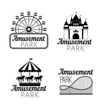 Black amusement park emblems. Carnival funfair logo with ferris wheel, horse carousel, castle silhouette, roller coaster for circus stamps and festive image concepts