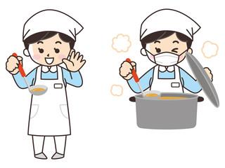 料理を作る調理師の女性