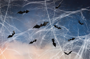 halloween, decoration and scary concept - black bats flying over starry night sky and spiderweb...