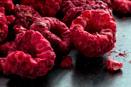 Close up of frozen dried raspberries