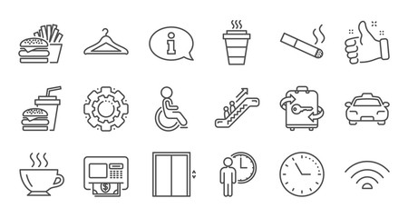 Public services line icons. Elevator, Taxi and Wifi internet. Fast food linear icon set. Quality line set. Vector
