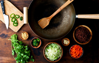 Overhead view of stir fry ingredients