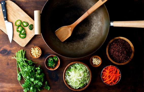 Overhead view of stir fry ingredients