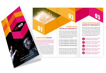 Trifold Brochure Layout with Bright Geometric Elements